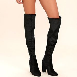 Black Velvet Suede Over the Knee Boots